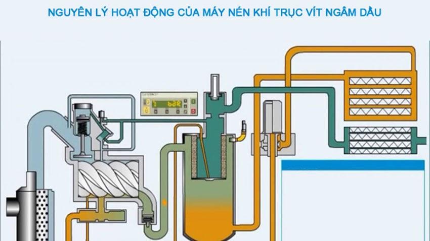 Nguyên lý làm việc máy nén khí trục vít
