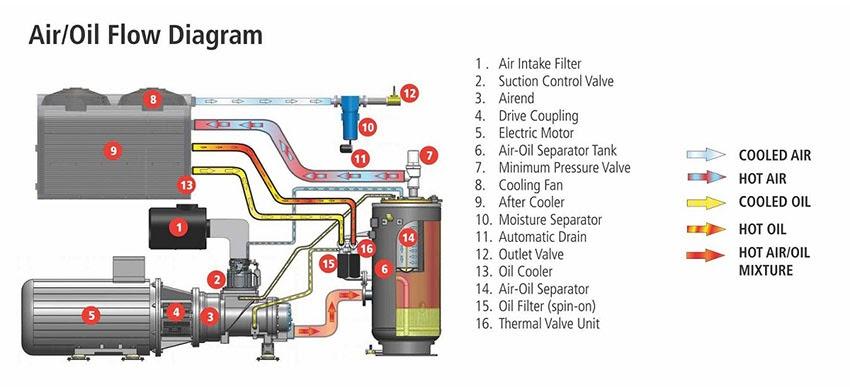 Cấu tạo máy nén khí trục vít có dầu:
