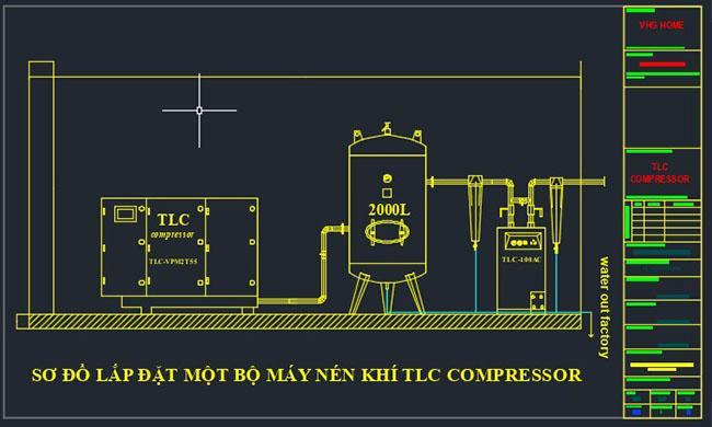 Sơ đồ nguyên lý lắp đặt hệ thống máy nén khí của TLC COMPRESSOR
